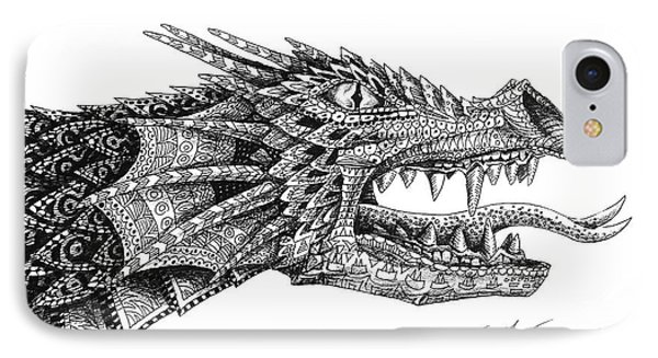 IPhone Case featuring the drawing Pattern Design Dragon by Aaron Spong