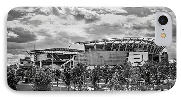 Paul Brown Stadium Black And White IPhone Case by Scott Meyer