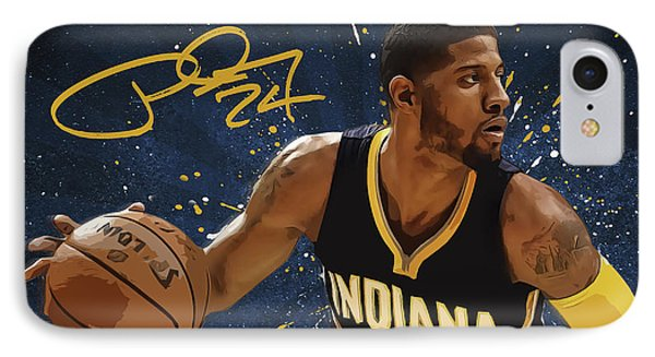 Paul George IPhone Case by Semih Yurdabak