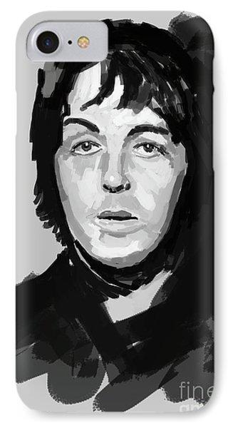 Paul Mccartney Handmade Portrait, Year 1968 IPhone Case by Pablo Franchi