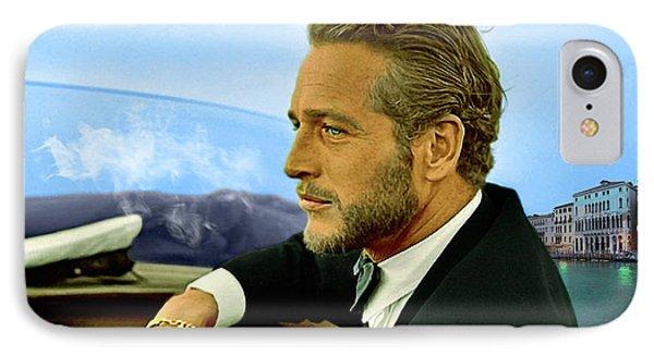 Paul Newman, Movie Star, Cruising Venice, Enjoying A Cuban Cigar IPhone Case by Thomas Pollart