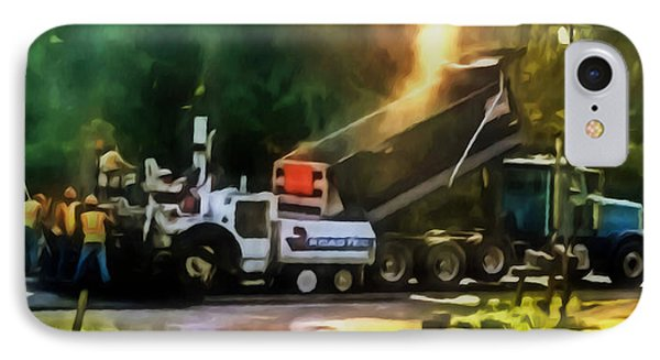 Pavement Machine Laying Fresh Asphalt  On Top Of The Gravel Base During Highway Construction IPhone Case