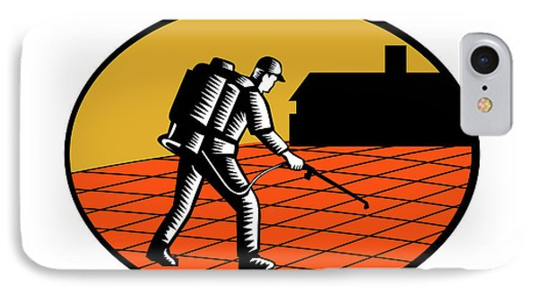 Paver Sealer Contractor House Oval Woodcut IPhone Case by Aloysius Patrimonio