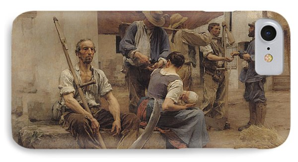 Paying The Harvesters IPhone Case by Leon Augustin Lhermitte