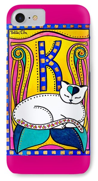 IPhone Case featuring the painting Peace And Love - Cat Art By Dora Hathazi Mendes by Dora Hathazi Mendes