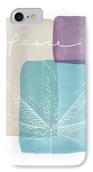 Peace Cannabis Leaf Watercolor- Art By Linda Woods IPhone Case by Linda Woods