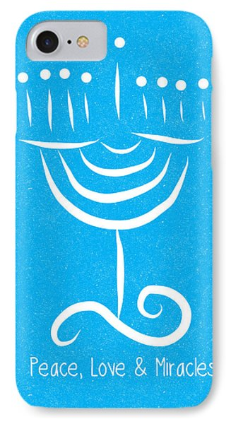 Peace Love And Miracles With Menorah IPhone Case