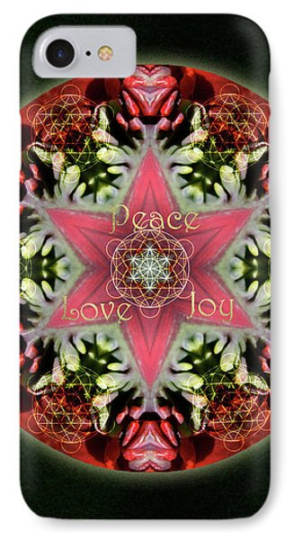 Peace Love Joy Holiday Star IPhone Case by Alicia Kent