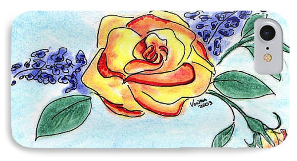 IPhone Case featuring the drawing Peace Rose by Vonda Lawson-Rosa