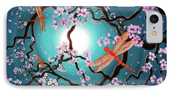 Peace Tree With Orange Dragonflies IPhone Case by Laura Iverson