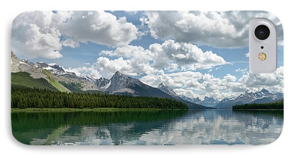 IPhone Case featuring the photograph Peaceful Maligne Lake by Sebastien Coursol