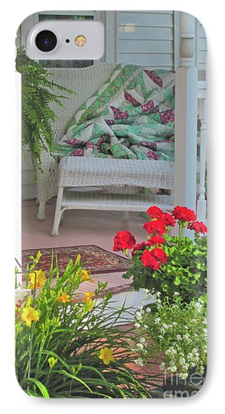 IPhone Case featuring the photograph Peaceful Porch In A Small Town by Nancy Lee Moran