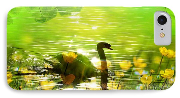 Peaceful Swan In Lake With Flowers IPhone Case
