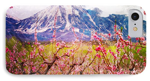 Peach Blossoms And Mount Lamborn II IPhone Case by Anastasia Savage Ealy