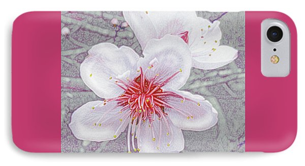 IPhone Case featuring the digital art Peach Blossoms by Jane Schnetlage