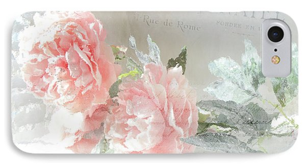 Peach Peonies Impressionistic Peony Floral Prints - French Impressionistic Peach Peony Prints IPhone Case by Kathy Fornal