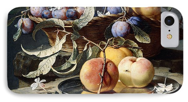 Peaches And Plums In A Wicker Basket, Peaches On A Silver Dish And Narcissi On Stone Plinths IPhone Case by Christian Berentz