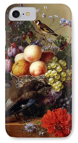 Peaches, Grapes, Plums And Flowers In A Glass Vase With A Jay On A Ledge IPhone Case by Arnoldus Bloemers
