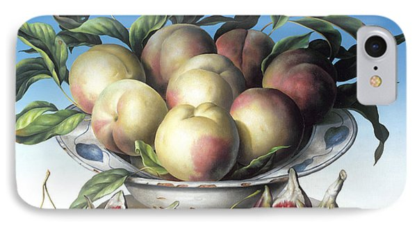 Peaches In Delft Bowl With Purple Figs Phone Case by Amelia Kleiser