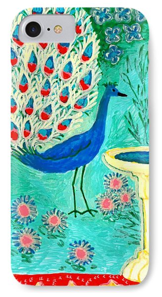 Peacock And Birdbath Phone Case by Sushila Burgess