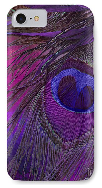 Peacock Candy Purple  IPhone Case by Mindy Sommers