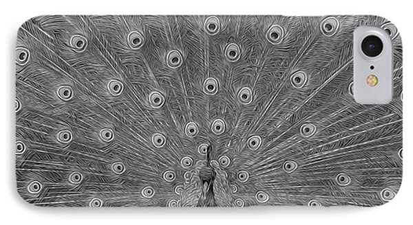 IPhone Case featuring the photograph Peacock Fanfare - Black And White by Diane Alexander