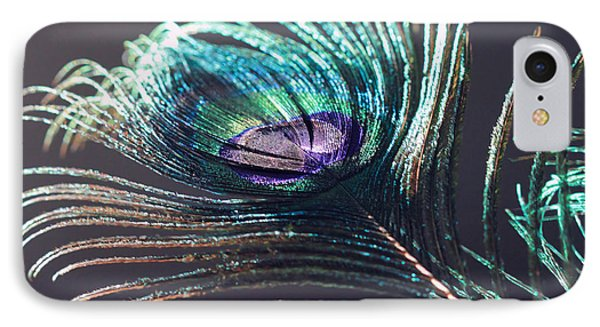 Peacock Feather In Sun Light IPhone Case by Angela Murdock