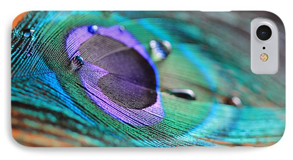 Peacock Feather With Water Drops IPhone Case by Angela Murdock