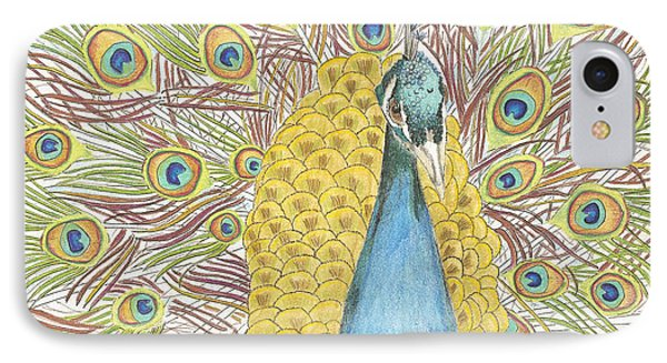 IPhone Case featuring the drawing Peacock One by Arlene Crafton