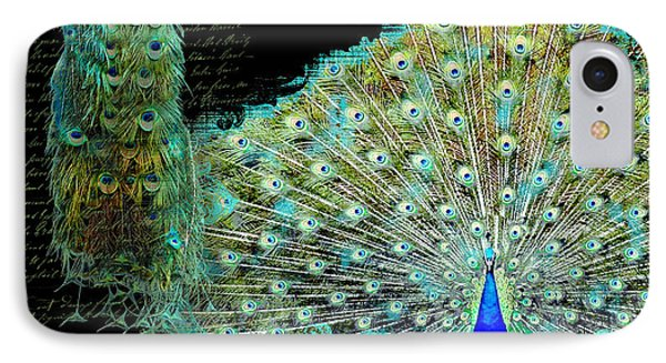 Peacock Pair On Tree Branch Tail Feathers IPhone 7 Case by Audrey Jeanne Roberts