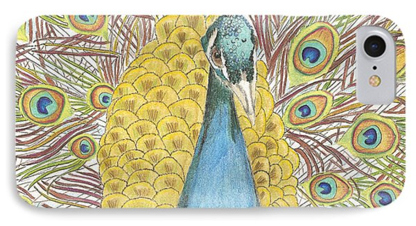 IPhone Case featuring the drawing Peacock Two by Arlene Crafton