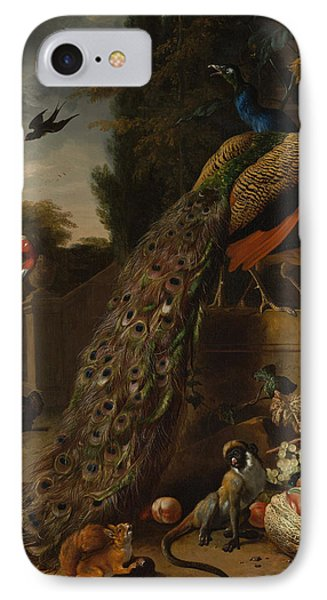IPhone Case featuring the painting Peacocks by Melchior d'Hondecoeter