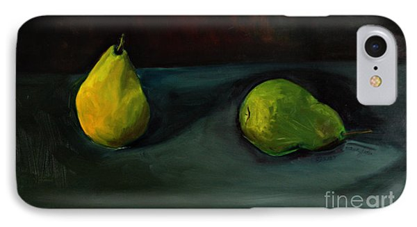 IPhone Case featuring the painting Pears Apart by Daun Soden-Greene