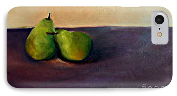 IPhone Case featuring the painting Pears One On One by Daun Soden-Greene
