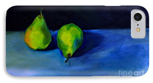 IPhone Case featuring the painting Pears Space Between by Daun Soden-Greene