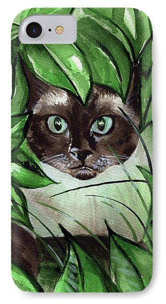 IPhone Case featuring the painting Peek A Boo Siamese Cat by Dora Hathazi Mendes