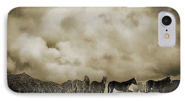 Peeples Valley Horses In Sepia IPhone Case by Priscilla Burgers