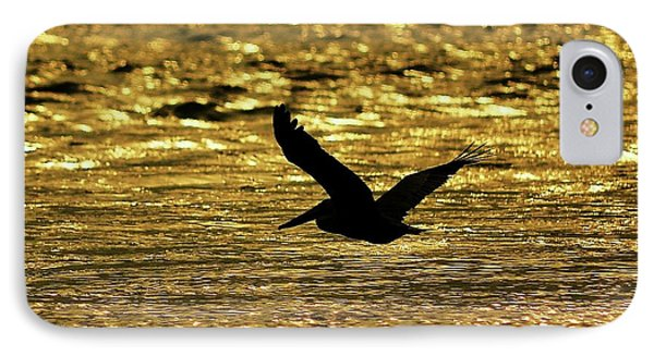 Pelican Silhouette - Golden Gulf Phone Case by Al Powell Photography USA