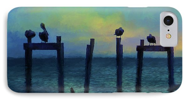 IPhone Case featuring the photograph Pelicans At Sunset by Jan Amiss Photography