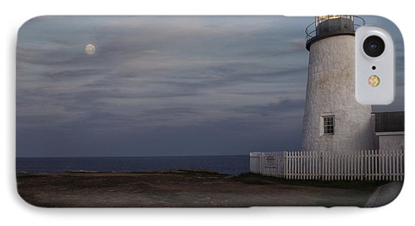 Pemaquid And Full Moon IPhone Case by Timothy Johnson