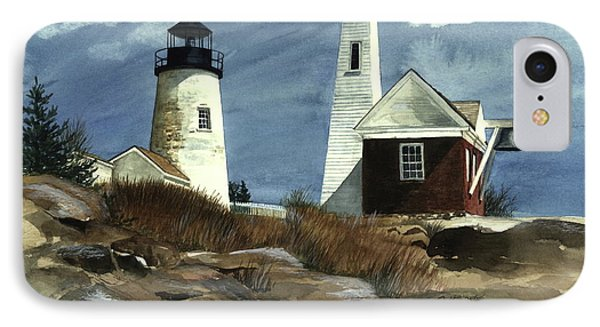 IPhone Case featuring the painting Pemaquid Point Lighthouse  by Nancy Patterson