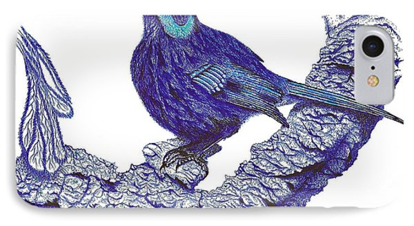 Pen And Ink Drawing Of Blue Bird Phone Case by Mario Perez