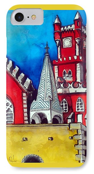 IPhone Case featuring the painting Pena Palace In Portugal by Dora Hathazi Mendes