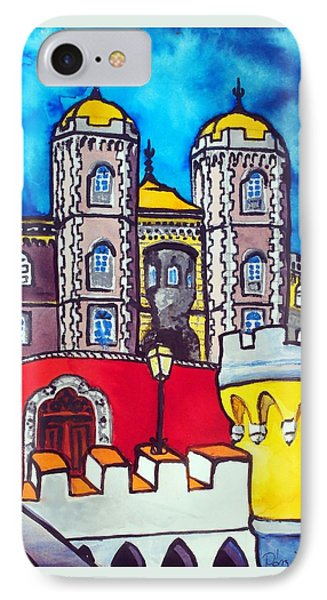 IPhone Case featuring the painting Pena Palace In Sintra Portugal  by Dora Hathazi Mendes