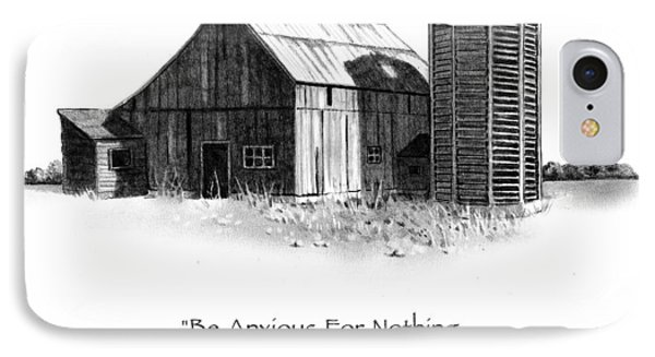 Pencil Drawing Of Old Barn With Bible Verse Phone Case by Joyce Geleynse