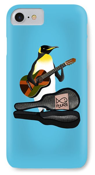Penguin Busker IPhone Case by Early Kirky