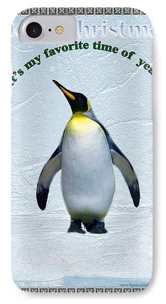 Penguin Christmas IPhone Case by Steve Karol