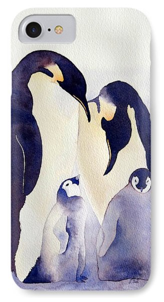 IPhone Case featuring the painting Penguin Family by Laurel Best