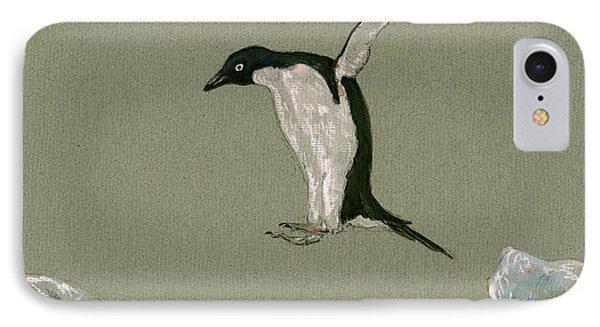 Penguin iPhone 7 Case - Penguin Jumping by Juan  Bosco
