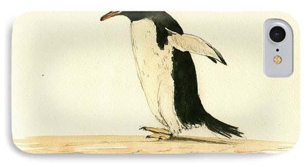 Penguin Walking IPhone Case by Juan  Bosco